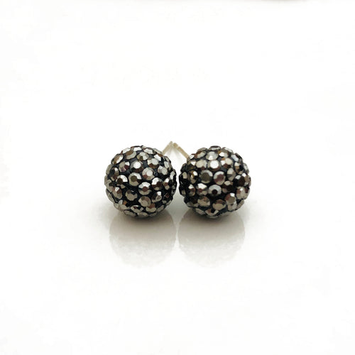 Glitterball Earrings | Metallic Gunmetal (Hematite)