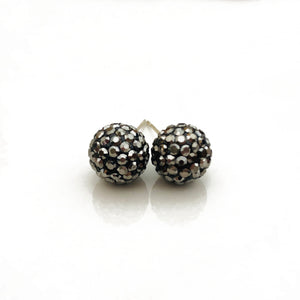 Glitterball Earrings - Metallic Gunmetal (Hematite)