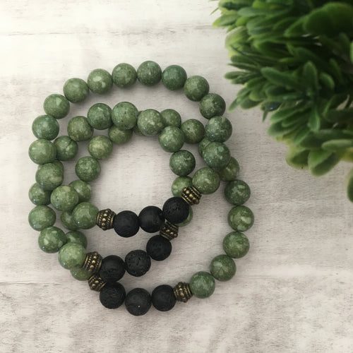 Stone stacker bracelet | Earthy Green