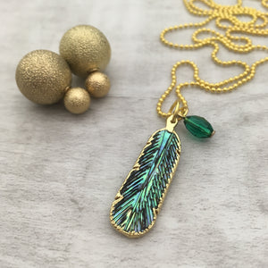 Feather Gold Shell Necklace