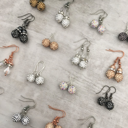 Glitterball Drop Earrings