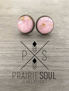 Druzy Earrings | Gold Flakes - Pink