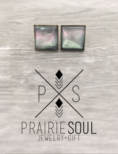 Druzy Earrings | Square - Moon