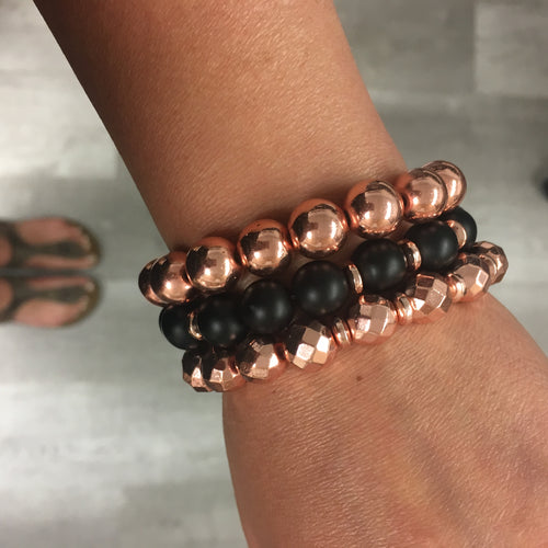 Stone stacker bracelet | Rose Gold Glory