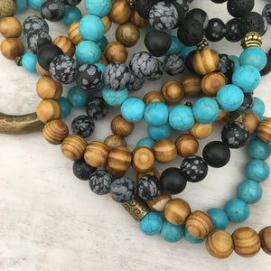 Stone stacker bracelet | Wood