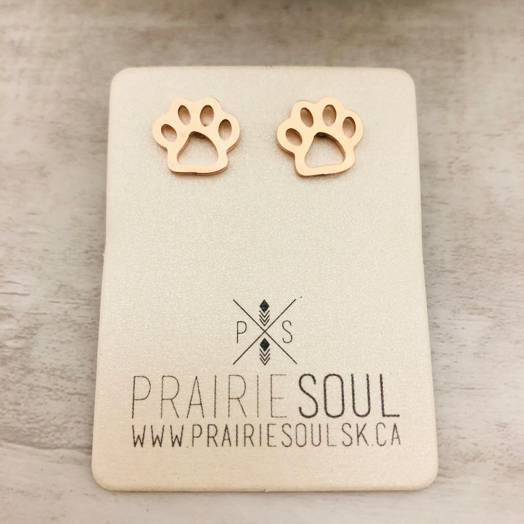 Metal Shape Stud Earring | Paw Hollow