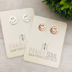 Metal Shape Stud Earring | Paw Round