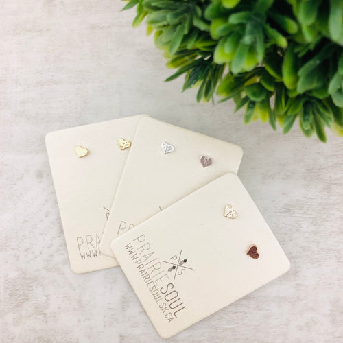 Metal Shape Stud Earring | Mini Heart