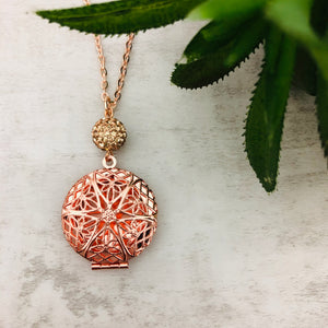 Aromatherapy Necklace | Round Rose Gold