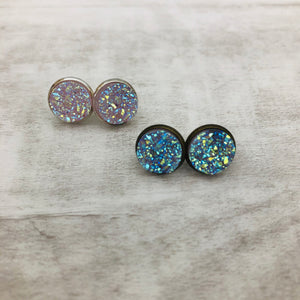 Druzy Earrings | Original - Clear Iridescent Aurora