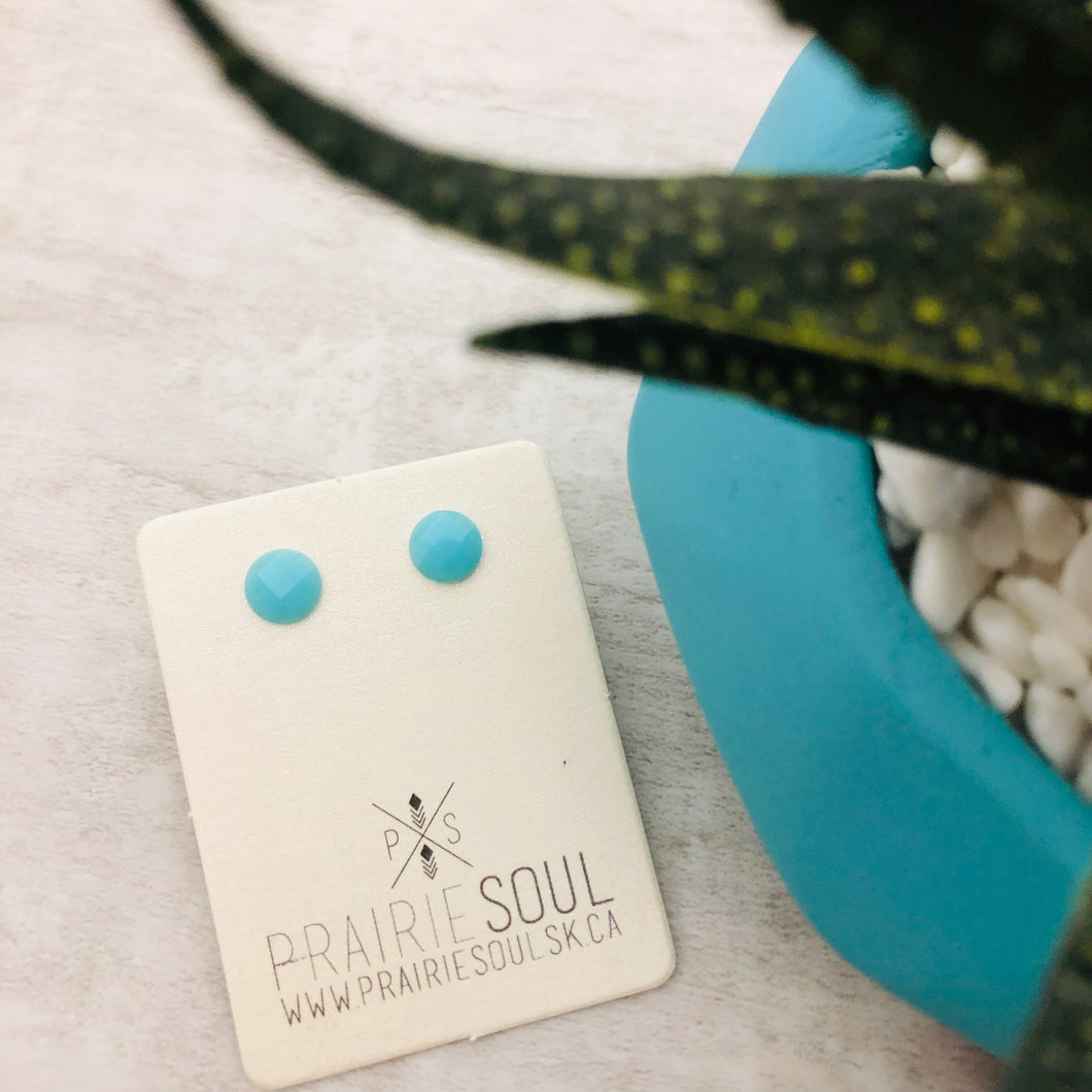 Dot Earrings | Faceted Aqua