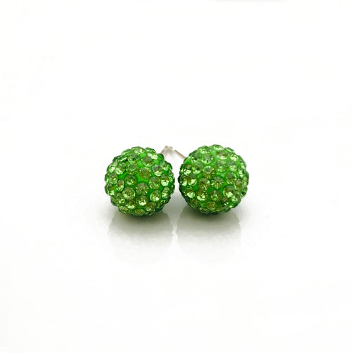 Glitterball Earrings - Green Peridot