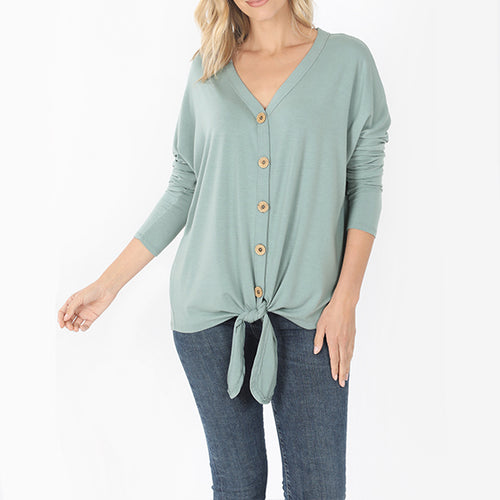 Tied Button Tee Long Sleeve