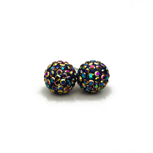 Glitterball Earrings | Metallic Purple