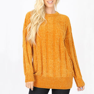 Sweater Cable Knit Round Neck Chenille