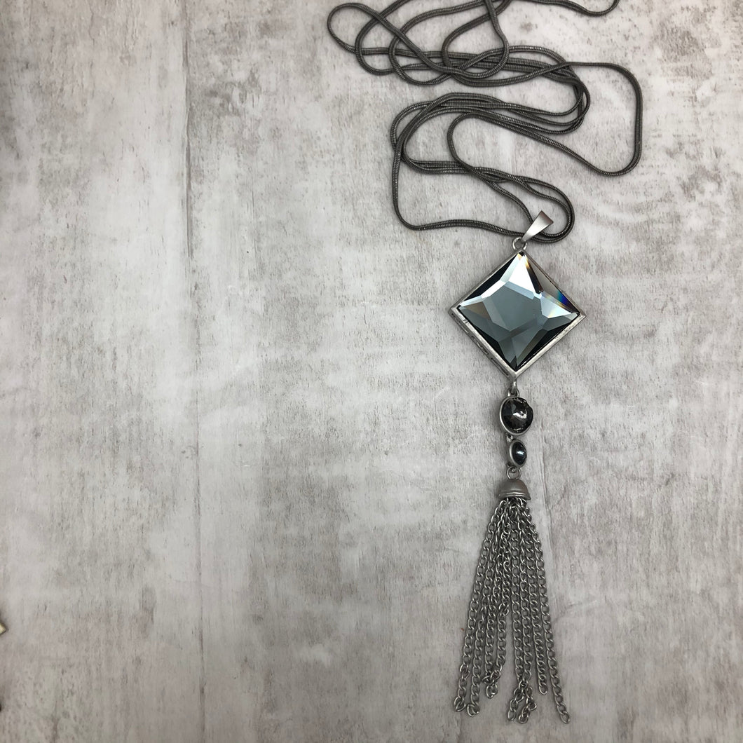 Grey Diamond Tassle Necklace