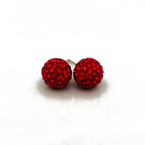Glitterball Earrings - Red Ruby