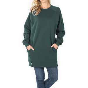Sweatshirt raglan sleeve long with pockets 33""