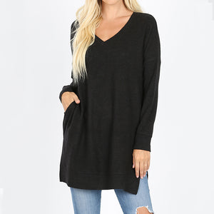 Sweater V Neck Long with pockets - Plus Size