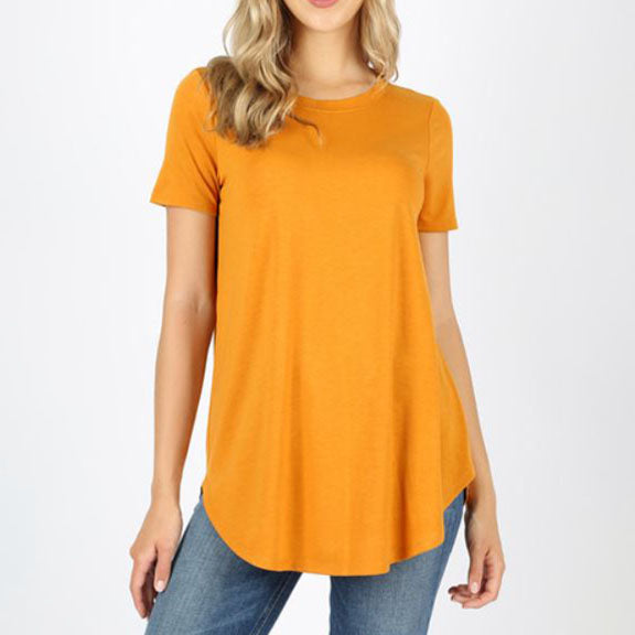 Short Sleeve Everyday Tee High Round Neck