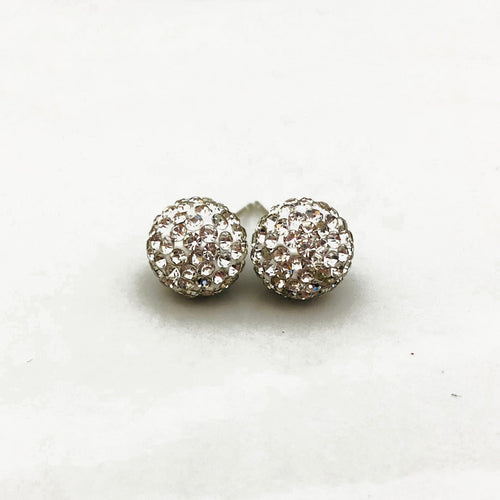 Glitterball Earrings - White Diamond