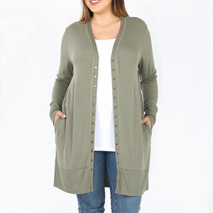 Cardigan Button Up Plus Size