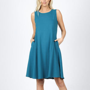 Dress Sleeveless A-Line with Pockets