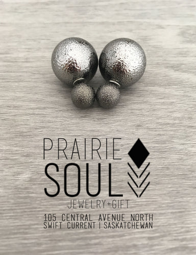 Double Sided Earrings | Textured Gunmetal