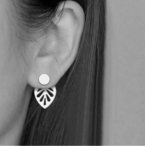 Double Sided Earrings | Ear Jacket Leaf