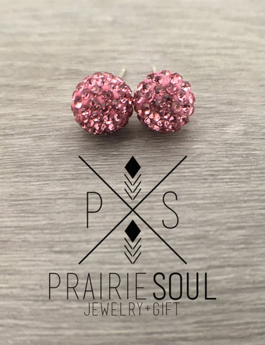 Glitterball Earrings | Baby Pink
