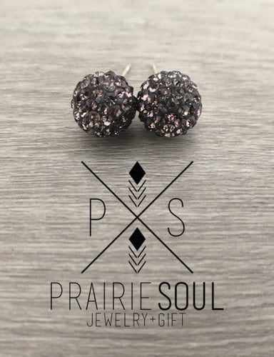 Glitterball Earrings | Grey