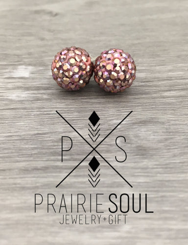 Glitterball Earrings | Metallic Mauve