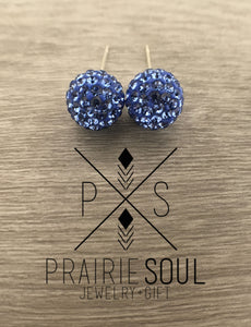 Glitterball Earrings | Blue Sapphire