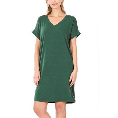 Dress Rolled Sleeve with Pockets Melanie