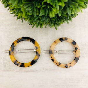 Hair Barrette Circle Leopard (Tortoise)