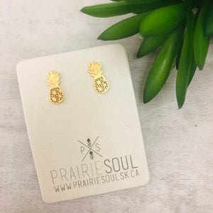 Metal Shape Stud Earring | Pineapple Tropical