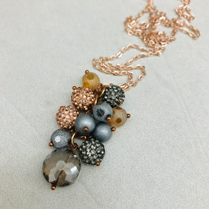 Cluster Necklace - glitterball rose gold and grey on rose gold