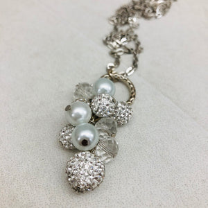 Cluster Necklace - glitterball white