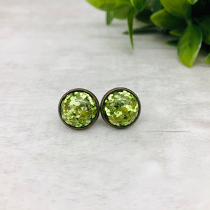 Druzy Earrings / Confetti / Green