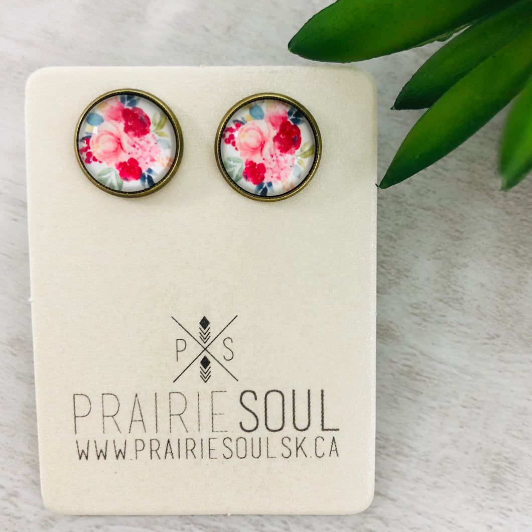 Graphic Earrings | Flowers Pinks