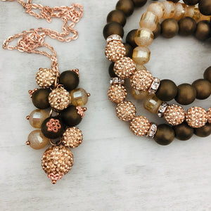 Necklace Cluster | Rose Gold + Matte Brown