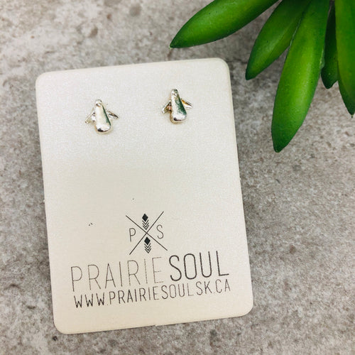 Metal Shape Stud Earring | Penguin