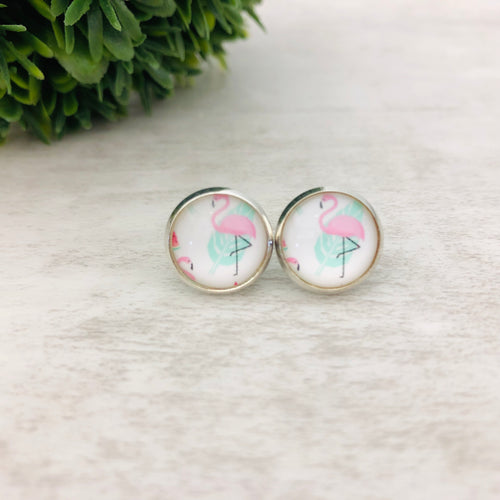 Graphic Earrings | Flamingo White