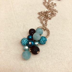 Cluster Necklace - glitterball aqua and navy