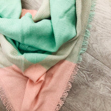 Triangle Blanket Scarf | Mint + Pink
