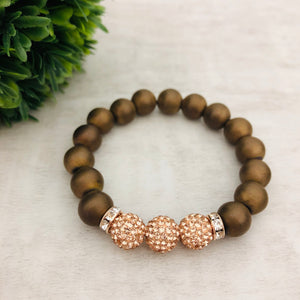 Stone Stacker Bracelet | Rose Gold + Matte Brown