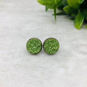 Druzy Earrings / Tall / Green
