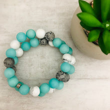 Stone Stacker Bracelet | Mix: Aqua, white, grey