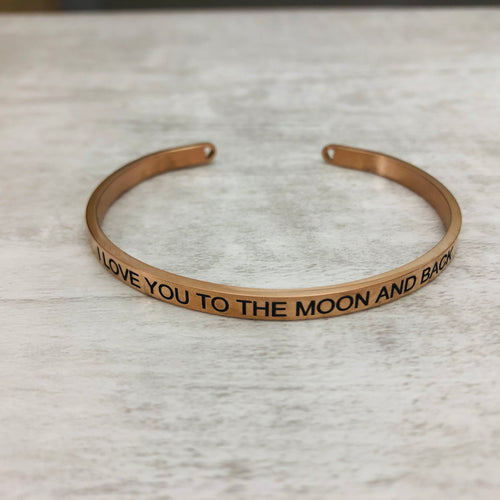 Love you to the moon and back Bangle Bracelet