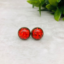 Druzy Earrings / Confetti / Red